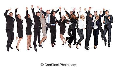 grupo, excitado, empresarios