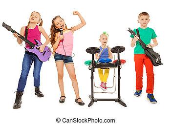 grupo, execute, junto, quatro, rocha, crianças