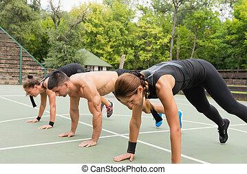 grupo, exercitar, pessoas