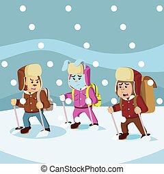 grupo, explorador, animal, ártico, nieve, entretela, tormenta