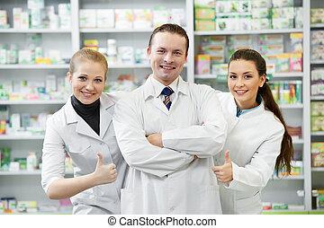 grupo, farmacia, químico, farmacia