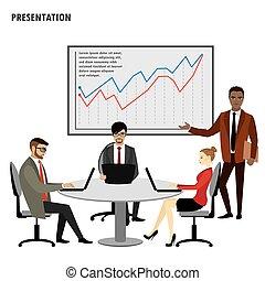 grupo, finanças, pessoas negócio, mapa, inverter, apresentação