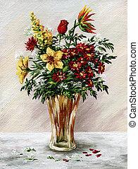 grupo flores, em, um, vaso vidro