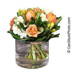 grupo flores, em, vaso vidro