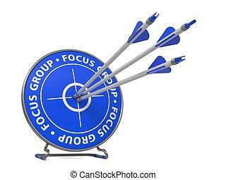 grupo foco, conceito, -, golpe, azul, target.