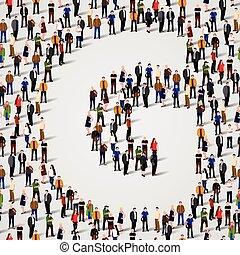grupo, forma, g, pessoas, grande, letra