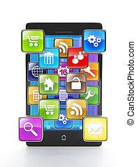 grupo, forma, iconos, móvil, apps, teléfono, aplicaciones, ...