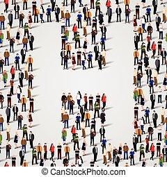 grupo, forma, pessoas, h, grande, letra
