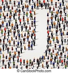 grupo, forma, pessoas, j, grande, letra