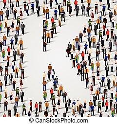 grupo, forma, pessoas, k, grande, letra