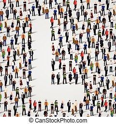 grupo, forma, pessoas, l, grande, letra