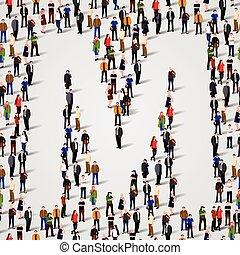 grupo, forma, pessoas, m, grande, letra