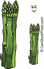 grupo, fresco, verde, aspargo lanceia