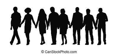 grupo, gente, 1, manos de valor en cartera, silueta