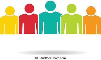 grupo, gente, 5., equipo, logotipo, compañeros