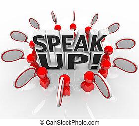 grupo, gente, arriba, hablar, burbuja del discurso, hablar