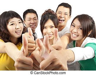 grupo, gente, arriba, joven, asiático, pulgares