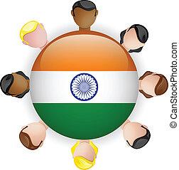 grupo, gente, botón, bandera india, trabajo en equipo