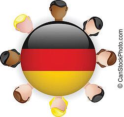 grupo, gente, botón, bandera, trabajo en equipo, alemania