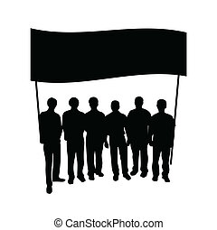 grupo, gente, con, bandera, silueta