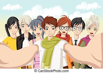 grupo, gente, selfie, photo., joven, caricatura, toma