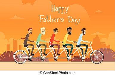 grupo, geração, passeio, pai, feriado, bicicleta tandem,...