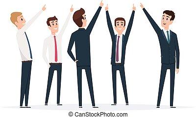 grupo, gerentes, direção, pointing., macho, vetorial, apontar, topo, ficar, ilustrações, homem negócios