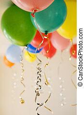 grupo, globos, fiesta