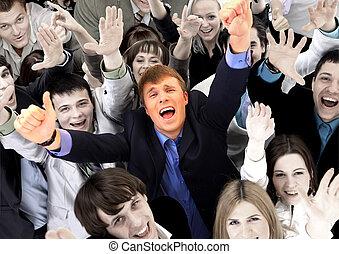 grupo grande, de, empresa / negocio, personas., encima, fondo blanco