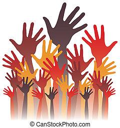 grupo grande, de, feliz, mãos, design.