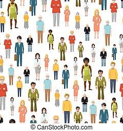 grupo grande, de, plano, caricatura, personas., vector, seamless, patrón