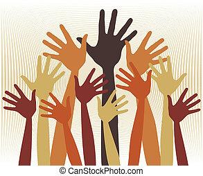 grupo grande, hands., feliz