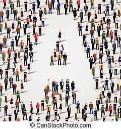 grupo grande, letra, forma, pessoas