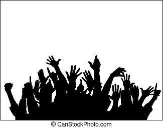 grupo grande, levantar, manos