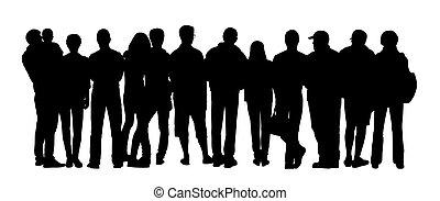 grupo grande personas, siluetas, conjunto, 4