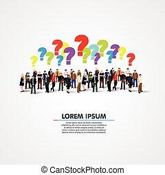 grupo grande pessoas, com, questions.