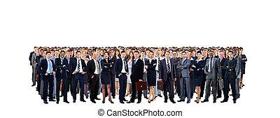 grupo grande pessoas, duração cheia, isolado, branco