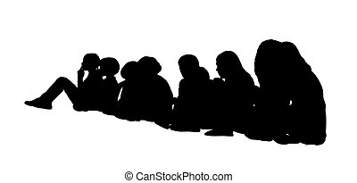 grupo grande, sentado, 1, siluetas, niños