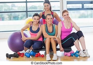 grupo, habitación, brillante, clase salud, ejercicio