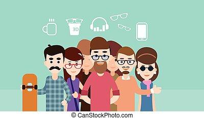 grupo, hipster, casual, pessoas