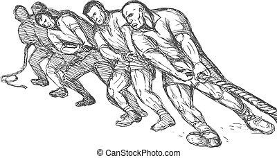 grupo, hombres, o, soga, tirar, equipo, guerra, tirón