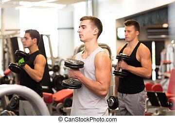 grupo homens, com, dumbbells, em, ginásio