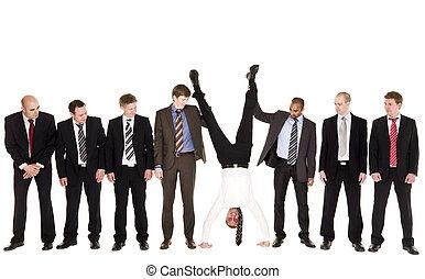 grupo, homens negócios