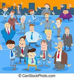 grupo, homens, ou, homens negócios, caráteres, caricatura