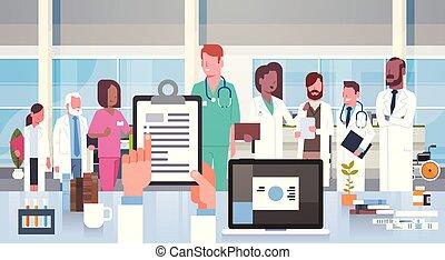 grupo, hospitalar, modernos, clínica, doutores, equipe, equipe funcionários médica