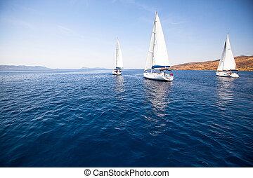 grupo, iate, velejando