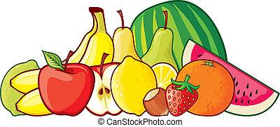 grupo, ilustração, frutas