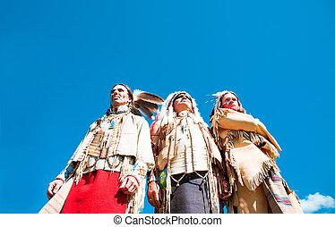 grupo, indios americanos, norte
