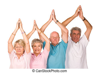 grupo, ioga, maduras, pessoas