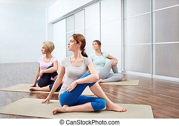 grupo, ioga, sessões